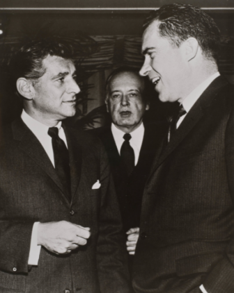 Vice President Richard M. Nixon presents the Institute of International Education's Distinguished Service Award to Leonard Bernstein. In the center is Grayson Kirk, President of Columbia University. Photo courtesy of the New York Philharmonic Archives.