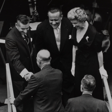 Leonard Bernstein, President Eisenhower, Leonard Warren, and Rise Stevens at the Lincoln Center ground-breaking ceremony. Photo courtesy of the New York Philharmonic Archives.