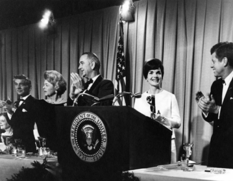 President and Mrs. Kennedy and composer Leonard Bernstein attend a fundraiser for National Culture Center, now know as the Kennedy Center, on November 29, 1962. Photo courtesy of the John F. Kennedy Presidential Library and Museum/NARA