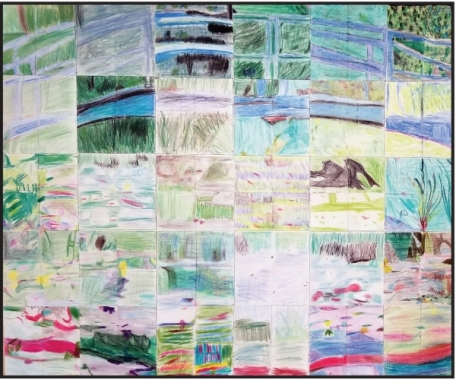 Grade 4 Student Grid Drawing inspired by Monet's Water-Lily Pond.