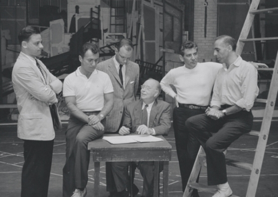 Stephen Sondheim, Arthur Laurents, Hal Prince, Robert E. Griffith, Leonard Bernstein, and Jerome Robbins in rehearsal for the stage production West Side Story